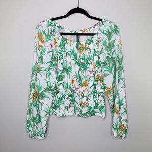 By Anthropologie Tropical Floral Plant Printed Top